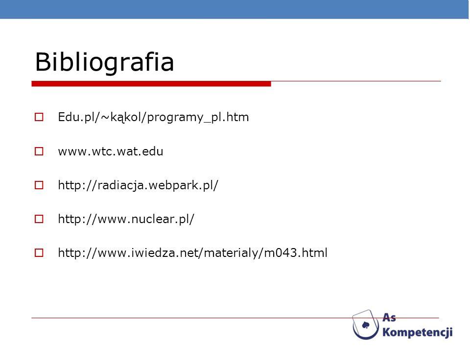 Bibliografia Edu.pl/~kąkol/programy_pl.htm www.wtc.wat.edu http://radiacja.webpark.pl/ http://www.nuclear.pl/ http://www.iwiedza.net/materialy/m043.ht
