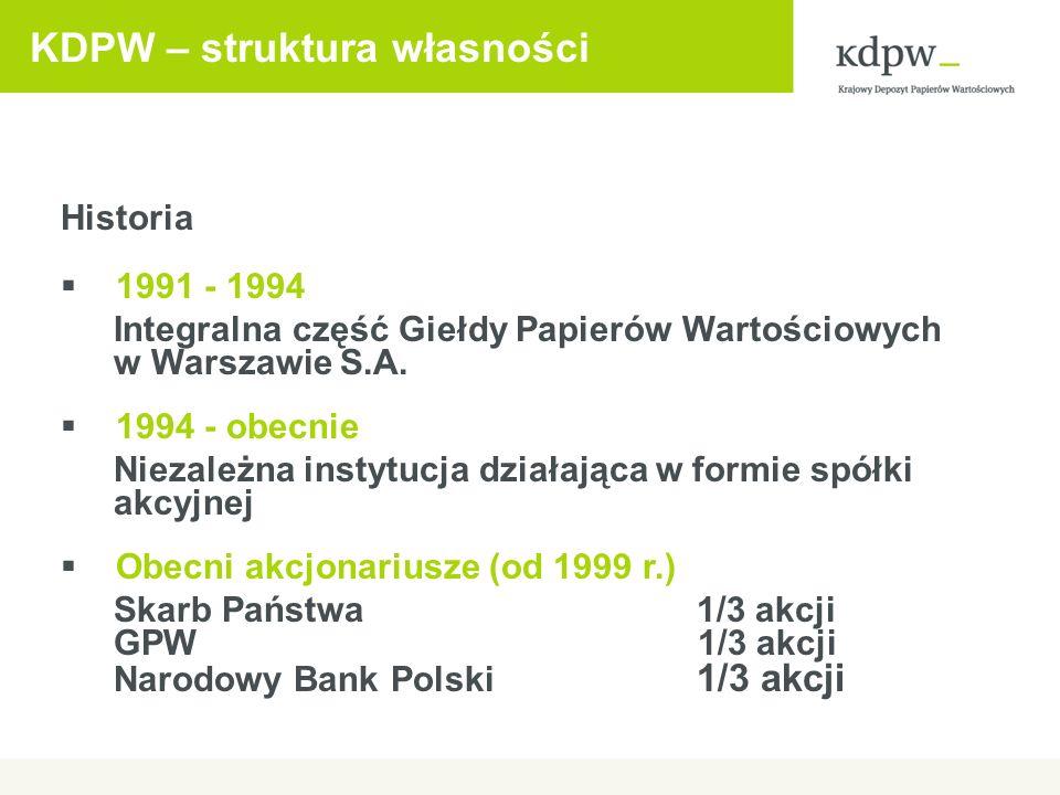 KDPW – struktura własności Historia 1991 - 1994 Integralna część Giełdy Papierów Wartościowych w Warszawie S.A. 1994 - obecnie Niezależna instytucja d