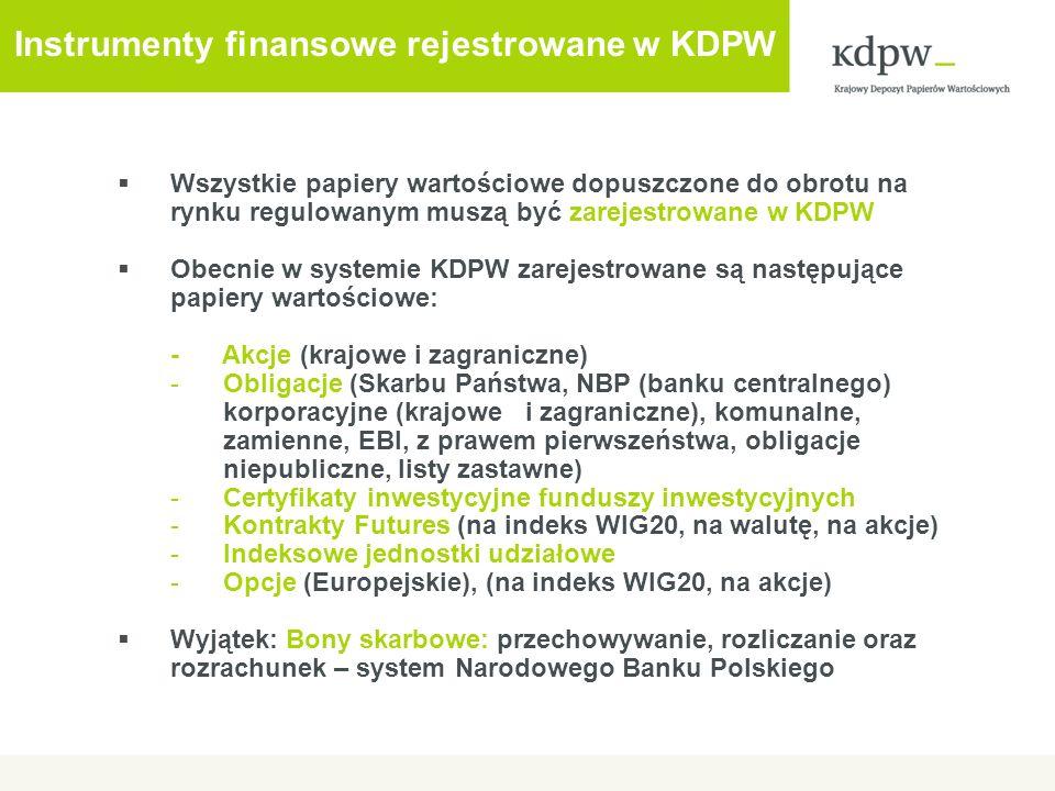 Instrumenty finansowe rejestrowane w KDPW Wszystkie papiery wartościowe dopuszczone do obrotu na rynku regulowanym muszą być zarejestrowane w KDPW Obe