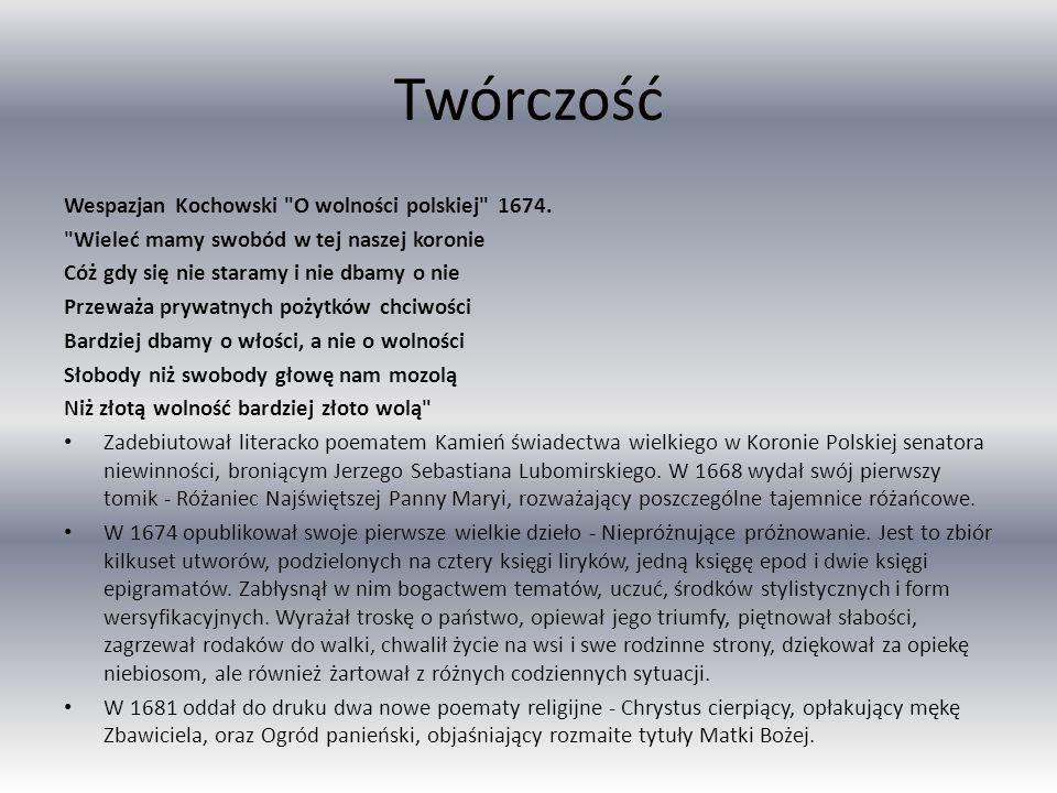 Twórczość Wespazjan Kochowski