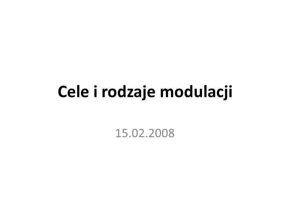 Cele i rodzaje modulacji 15.02.2008