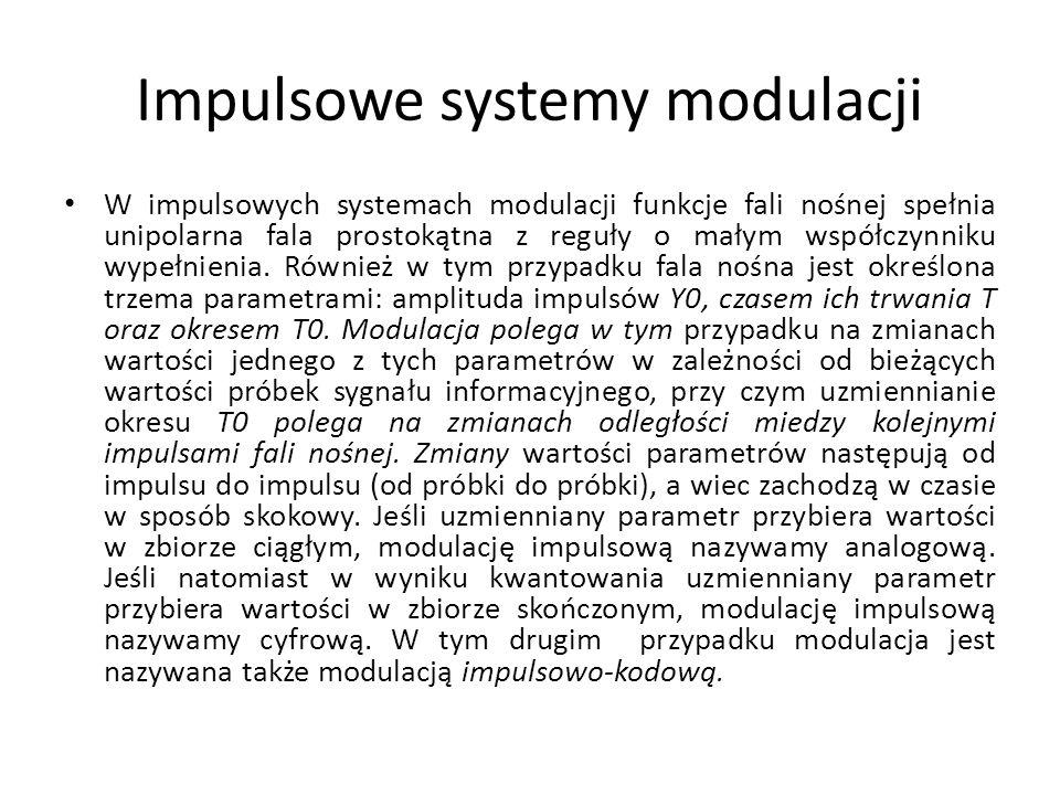 Impulsowe systemy modulacji W impulsowych systemach modulacji funkcje fali nośnej spełnia unipolarna fala prostokątna z reguły o małym współczynniku w