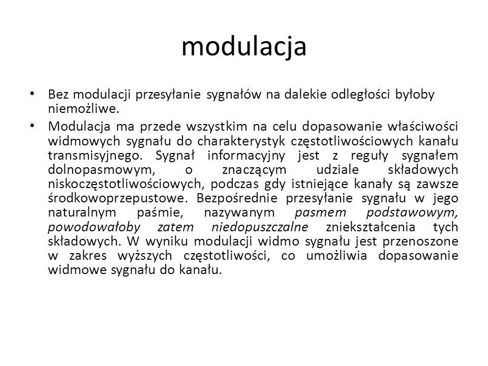 modulacja Bez modulacji przesyłanie sygnałów na dalekie odległości byłoby niemożliwe. Modulacja ma przede wszystkim na celu dopasowanie właściwości wi
