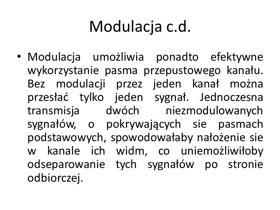 Modulacja c.d. Modulacja umożliwia ponadto efektywne wykorzystanie pasma przepustowego kanału. Bez modulacji przez jeden kanał można przesłać tylko je