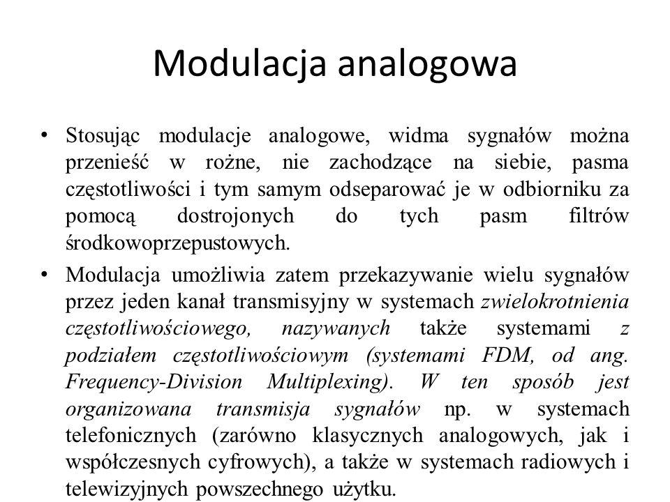 Modulacja analogowa Stosując modulacje analogowe, widma sygnałów można przenieść w rożne, nie zachodzące na siebie, pasma częstotliwości i tym samym o