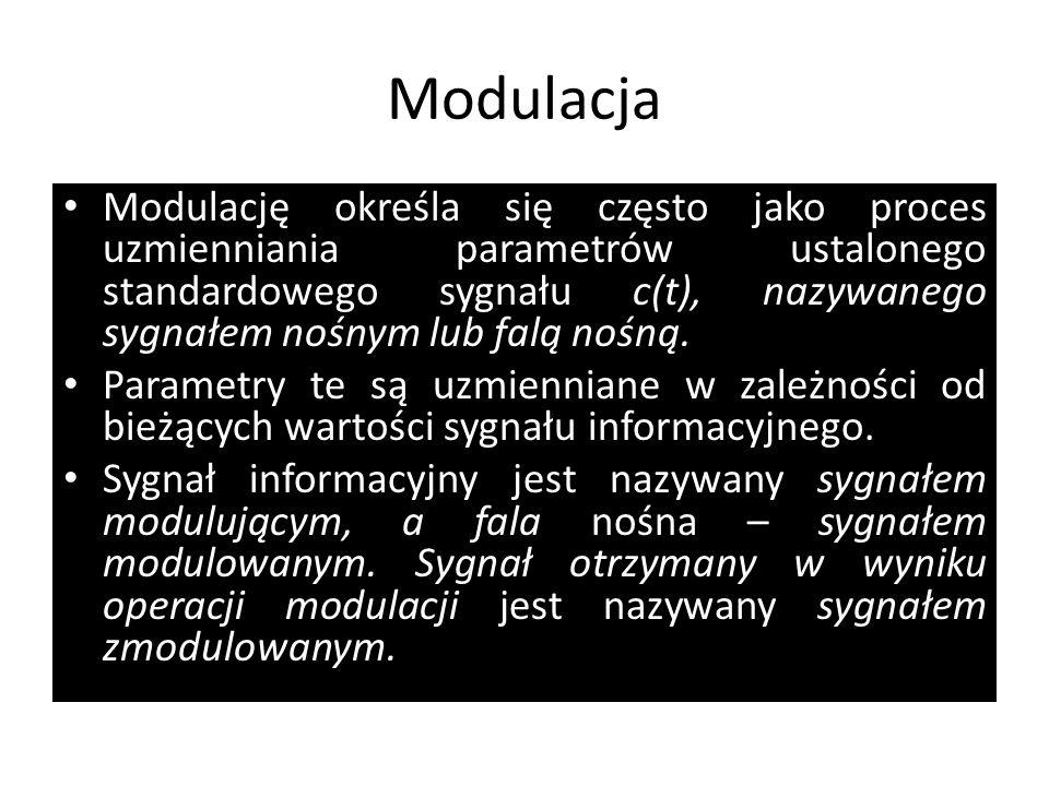 Modulacja Modulację określa się często jako proces uzmienniania parametrów ustalonego standardowego sygnału c(t), nazywanego sygnałem nośnym lub falą