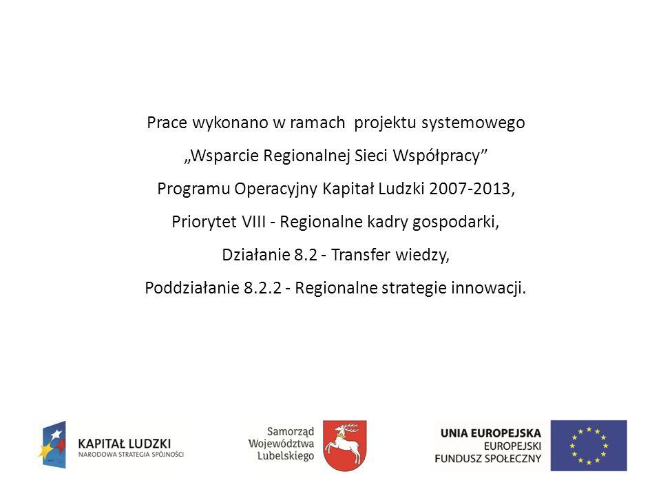Prace wykonano w ramach projektu systemowego Wsparcie Regionalnej Sieci Współpracy Programu Operacyjny Kapitał Ludzki 2007-2013, Priorytet VIII - Regionalne kadry gospodarki, Działanie 8.2 - Transfer wiedzy, Poddziałanie 8.2.2 - Regionalne strategie innowacji.