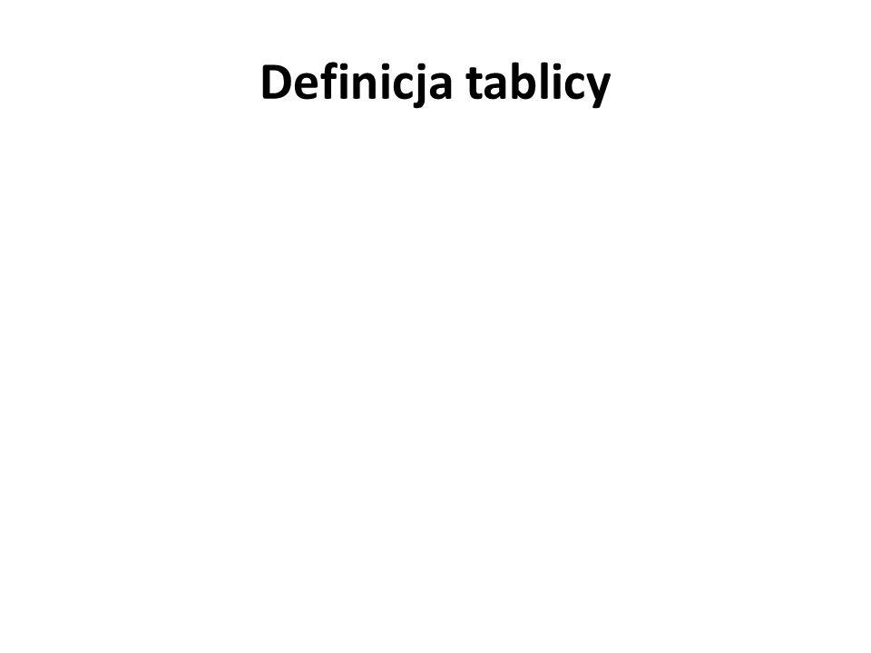 Definicja tablicy