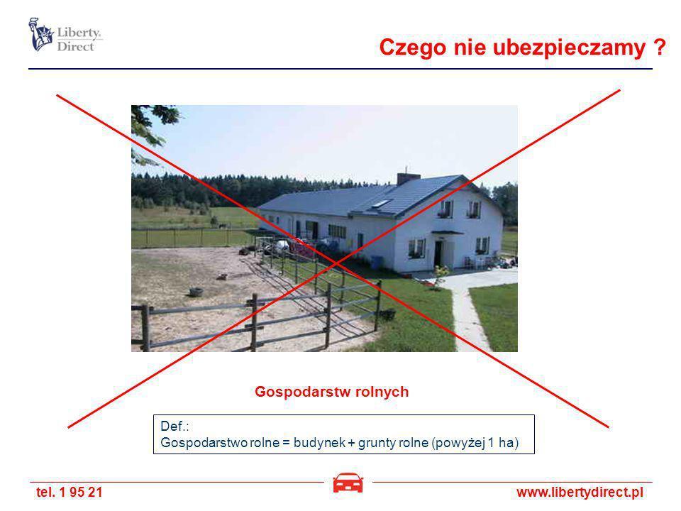 tel. 1 95 21www.libertydirect.pl Gospodarstw rolnych Def.: Gospodarstwo rolne = budynek + grunty rolne (powyżej 1 ha) Czego nie ubezpieczamy ?