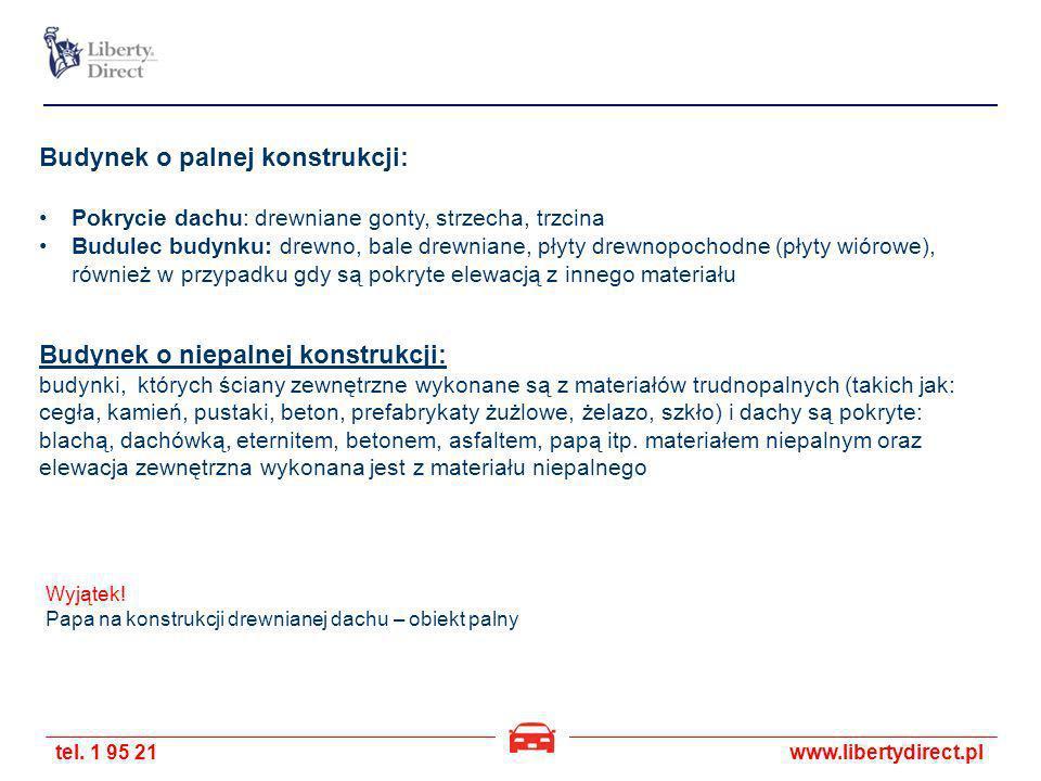 tel. 1 95 21www.libertydirect.pl Budynek o palnej konstrukcji: Pokrycie dachu: drewniane gonty, strzecha, trzcina Budulec budynku: drewno, bale drewni
