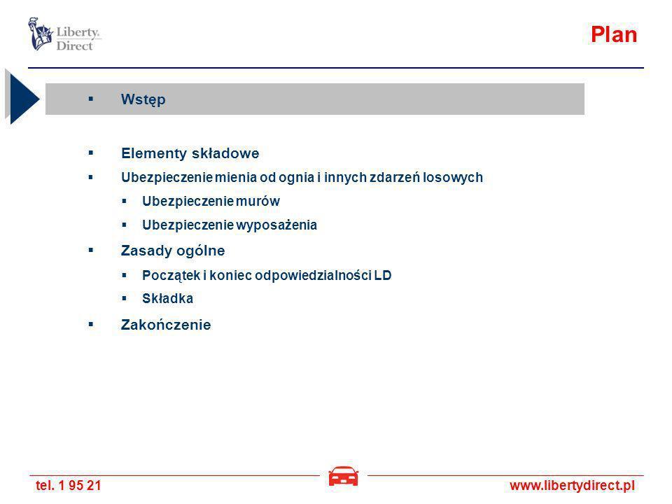 tel. 1 95 21www.libertydirect.pl Plan Wstęp Elementy składowe Ubezpieczenie mienia od ognia i innych zdarzeń losowych Ubezpieczenie murów Ubezpieczeni