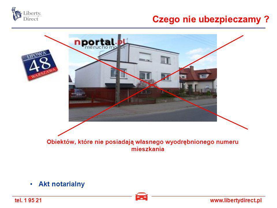 tel. 1 95 21www.libertydirect.pl Obiektów, które nie posiadają własnego wyodrębnionego numeru mieszkania Akt notarialny Czego nie ubezpieczamy ?