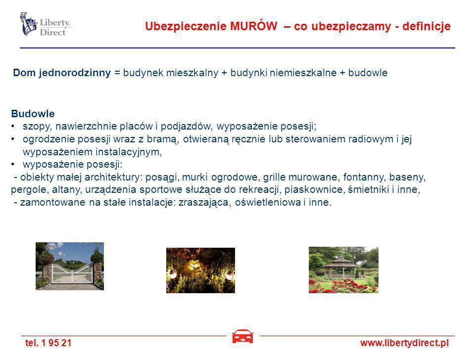 tel. 1 95 21www.libertydirect.pl Ubezpieczenie MURÓW – co ubezpieczamy - definicje Budowle szopy, nawierzchnie placów i podjazdów, wyposażenie posesji