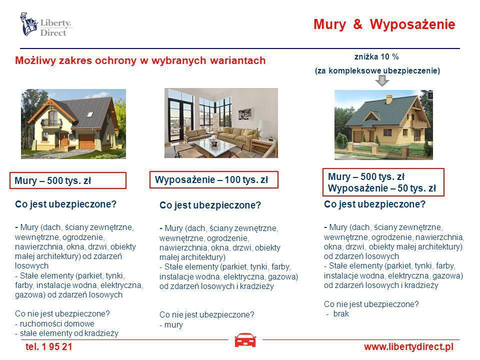 tel. 1 95 21www.libertydirect.pl Mury & Wyposażenie zniżka 10 % (za kompleksowe ubezpieczenie) Możliwy zakres ochrony w wybranych wariantach Mury – 50
