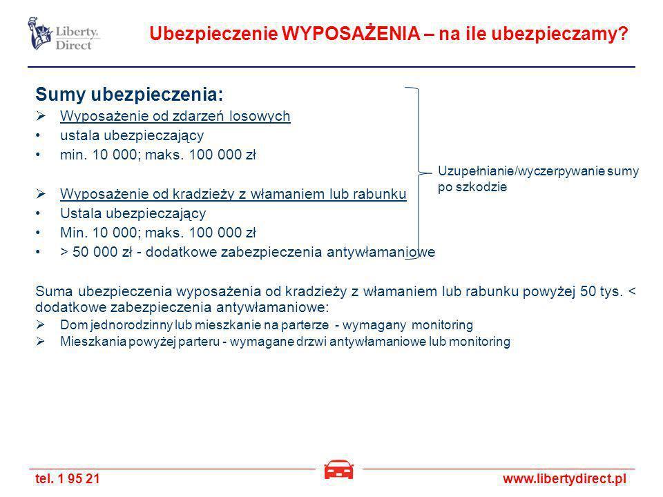 tel. 1 95 21www.libertydirect.pl Ubezpieczenie WYPOSAŻENIA – na ile ubezpieczamy? Sumy ubezpieczenia: Wyposażenie od zdarzeń losowych ustala ubezpiecz