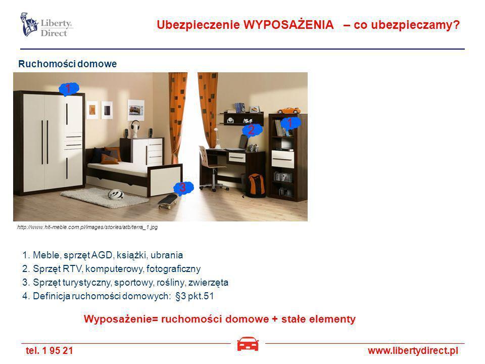 tel. 1 95 21www.libertydirect.pl Ruchomości domowe 1. Meble, sprzęt AGD, książki, ubrania 2. Sprzęt RTV, komputerowy, fotograficzny 3. Sprzęt turystyc