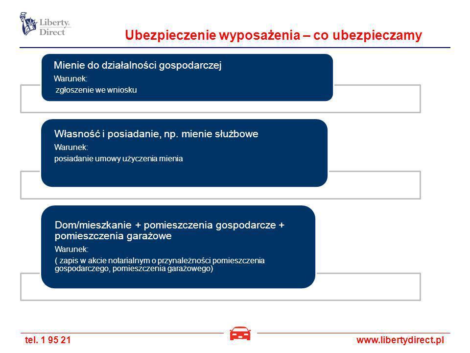tel. 1 95 21www.libertydirect.pl Ubezpieczenie wyposażenia – co ubezpieczamy Mienie do działalności gospodarczej Warunek: zgłoszenie we wniosku Własno