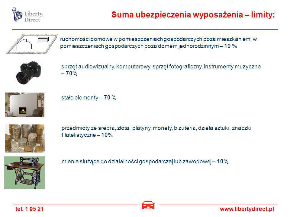tel. 1 95 21www.libertydirect.pl Suma ubezpieczenia wyposażenia – limity: ruchomości domowe w pomieszczeniach gospodarczych poza mieszkaniem, w pomies