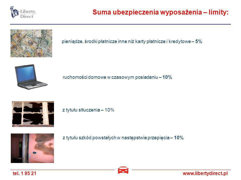 tel. 1 95 21www.libertydirect.pl Suma ubezpieczenia wyposażenia – limity: pieniądze, środki płatnicze inne niż karty płatnicze i kredytowe – 5% ruchom