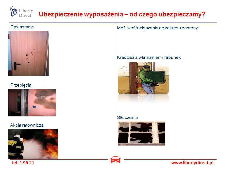 tel. 1 95 21www.libertydirect.pl Ubezpieczenie wyposażenia – od czego ubezpieczamy? Kradzież z włamaniem i rabunek Przepięcia Dewastacja Stłuczenia Ak