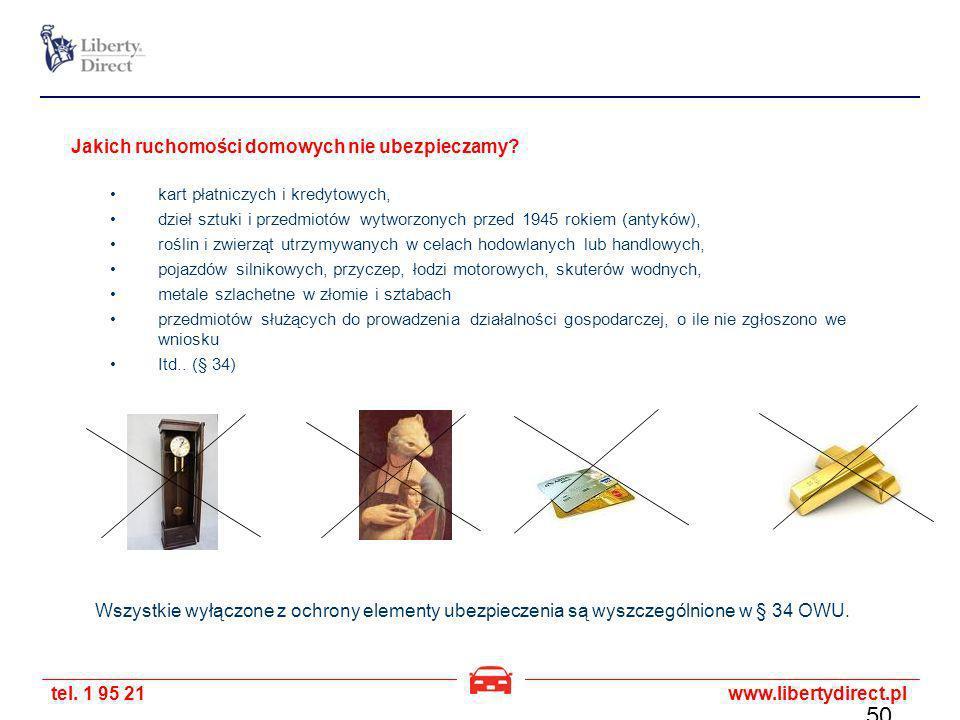 tel. 1 95 21www.libertydirect.pl Jakich ruchomości domowych nie ubezpieczamy? kart płatniczych i kredytowych, dzieł sztuki i przedmiotów wytworzonych