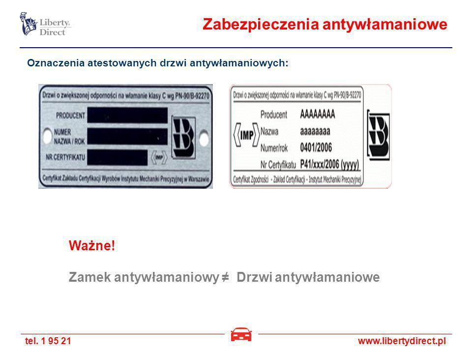 tel. 1 95 21www.libertydirect.pl Zabezpieczenia antywłamaniowe Oznaczenia atestowanych drzwi antywłamaniowych: Ważne! Zamek antywłamaniowy Drzwi antyw