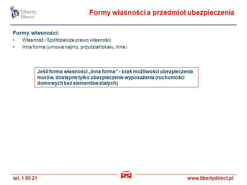 tel. 1 95 21www.libertydirect.pl Formy własności a przedmiot ubezpieczenia Formy własności: Własność / Spółdzielcze prawo własności Inna forma (umowa