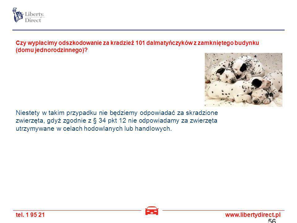 tel. 1 95 21www.libertydirect.pl Czy wypłacimy odszkodowanie za kradzież 101 dalmatyńczyków z zamkniętego budynku (domu jednorodzinnego)? Niestety w t