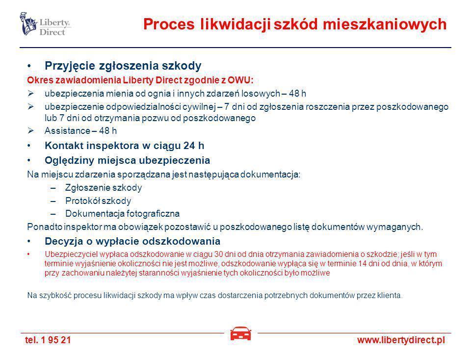 tel. 1 95 21www.libertydirect.pl Proces likwidacji szkód mieszkaniowych Przyjęcie zgłoszenia szkody Okres zawiadomienia Liberty Direct zgodnie z OWU: