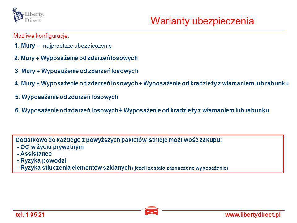tel. 1 95 21www.libertydirect.pl Warianty ubezpieczenia 1. Mury - najprostsze ubezpieczenie 2. Mury + Wyposażenie od zdarzeń losowych 3. Mury + Wyposa