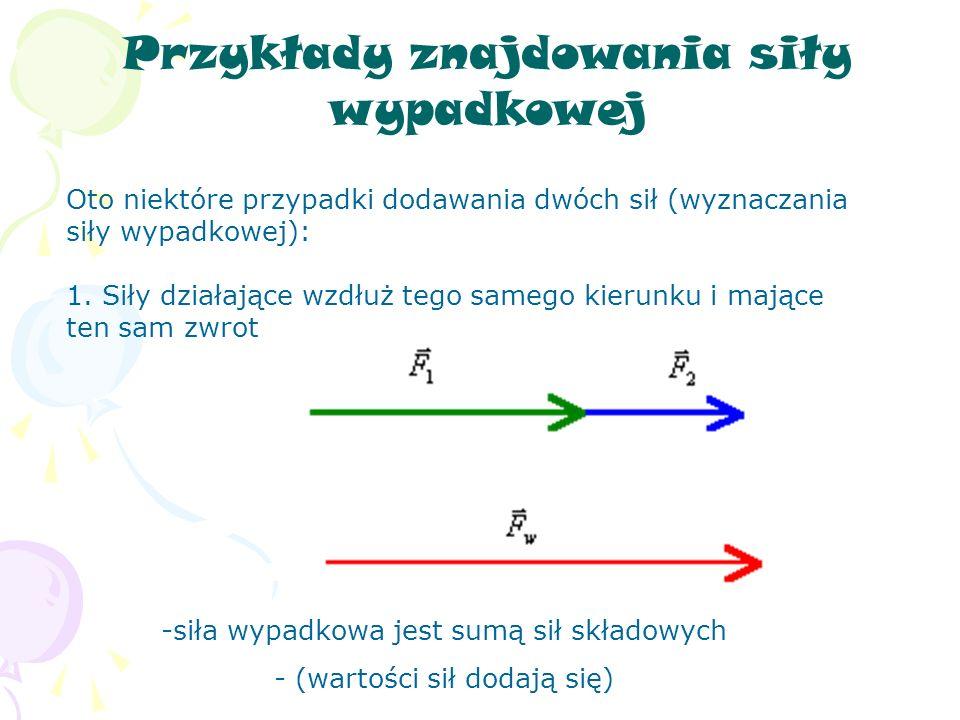 Przykłady znajdowania siły wypadkowej Oto niektóre przypadki dodawania dwóch sił (wyznaczania siły wypadkowej): 1.
