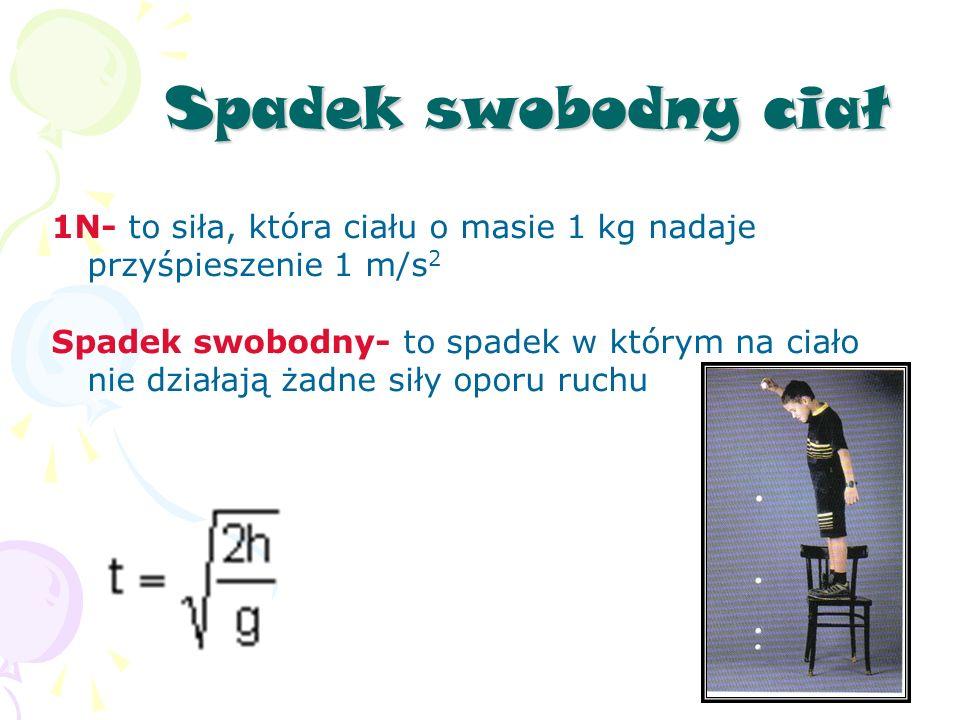 Spadek swobodny ciał 1N- to siła, która ciału o masie 1 kg nadaje przyśpieszenie 1 m/s 2 Spadek swobodny- to spadek w którym na ciało nie działają żadne siły oporu ruchu
