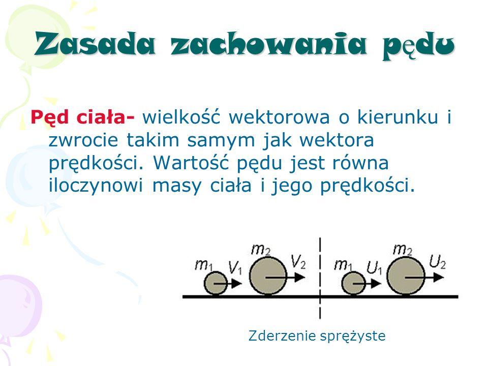 Zasada zachowania p ę du Pęd ciała- wielkość wektorowa o kierunku i zwrocie takim samym jak wektora prędkości.