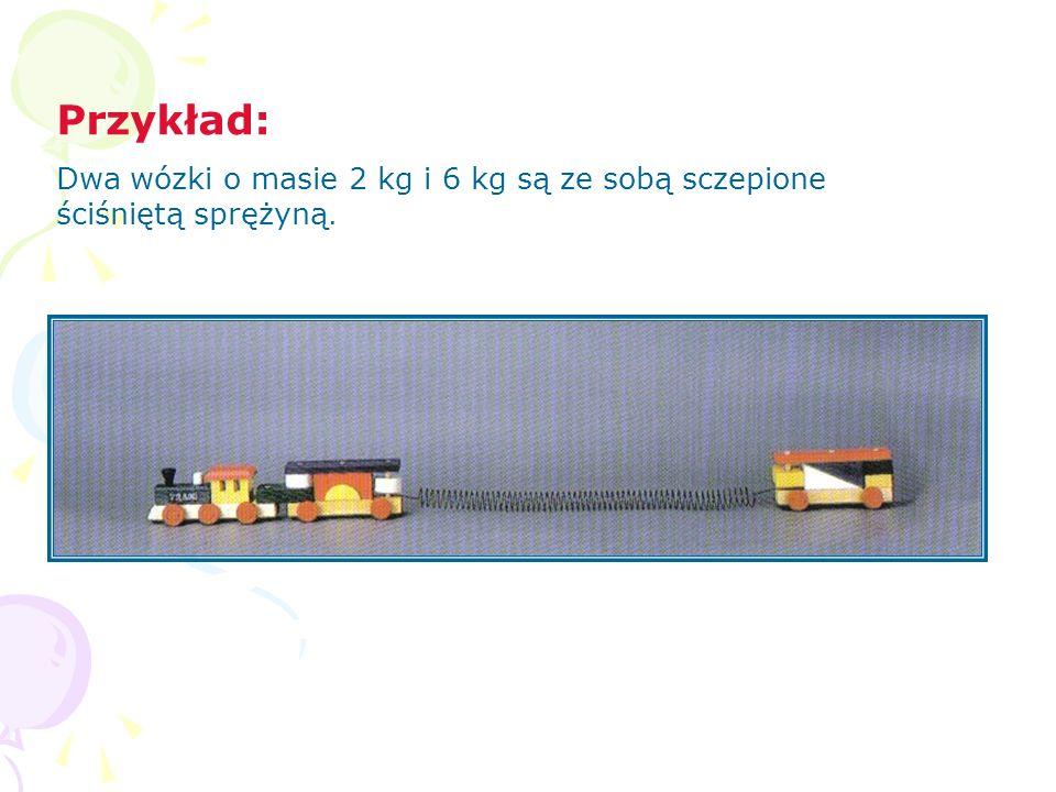 Przykład: Dwa wózki o masie 2 kg i 6 kg są ze sobą sczepione ściśniętą sprężyną.