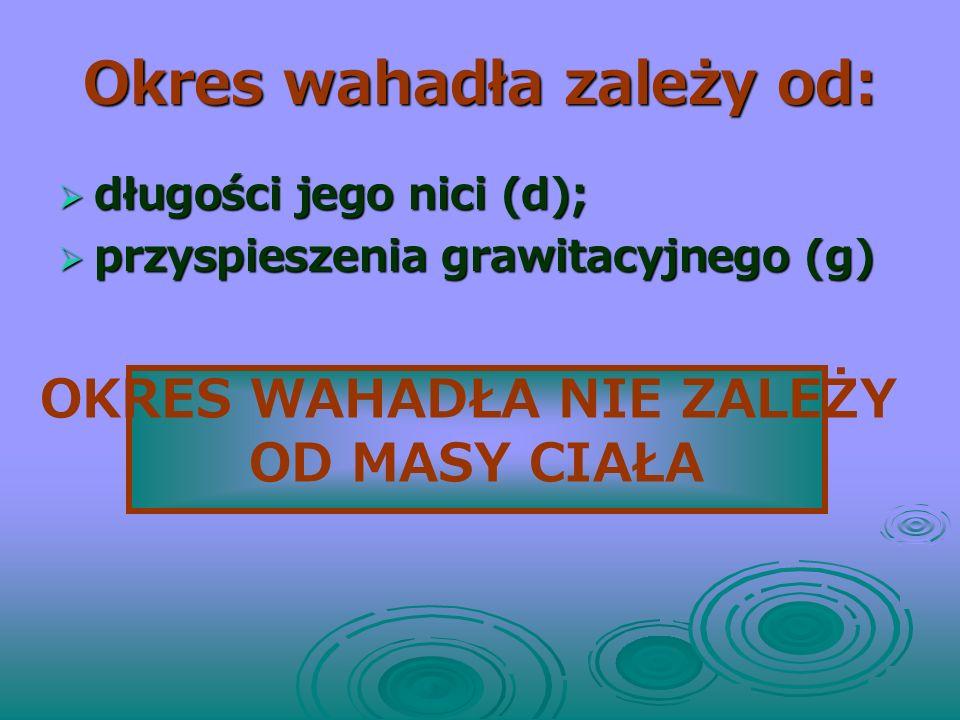 OKRES WAHADŁA, ponieważ:, stąd: