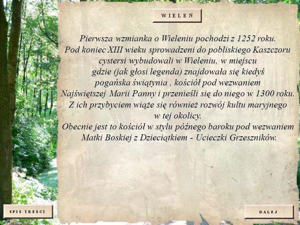 Pierwsza wzmianka o Wieleniu pochodzi z 1252 roku. Pod koniec XIII wieku sprowadzeni do pobliskiego Kaszczoru cystersi wybudowali w Wieleniu, w miejsc