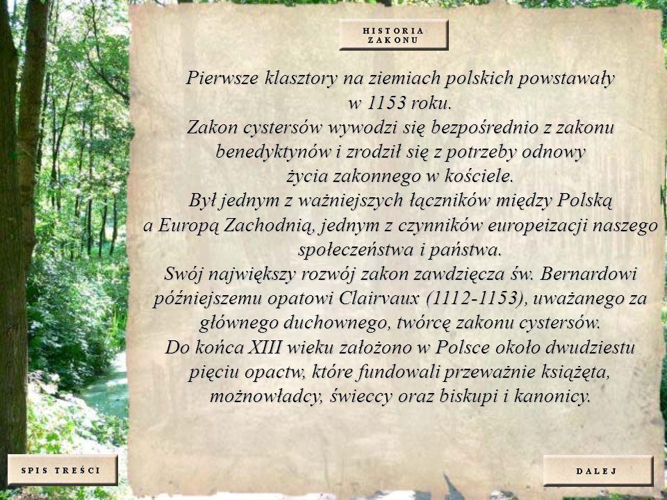 Pierwsze klasztory na ziemiach polskich powstawały w 1153 roku. Zakon cystersów wywodzi się bezpośrednio z zakonu benedyktynów i zrodził się z potrzeb