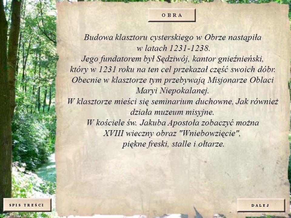 Budowa klasztoru cysterskiego w Obrze nastąpiła w latach 1231-1238. Jego fundatorem był Sędziwój, kantor gnieźnieński, który w 1231 roku na ten cel pr