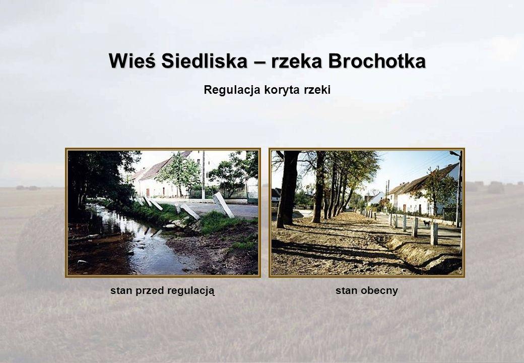 stan przed regulacjąstan obecny Regulacja koryta rzeki Wieś Siedliska – rzeka Brochotka