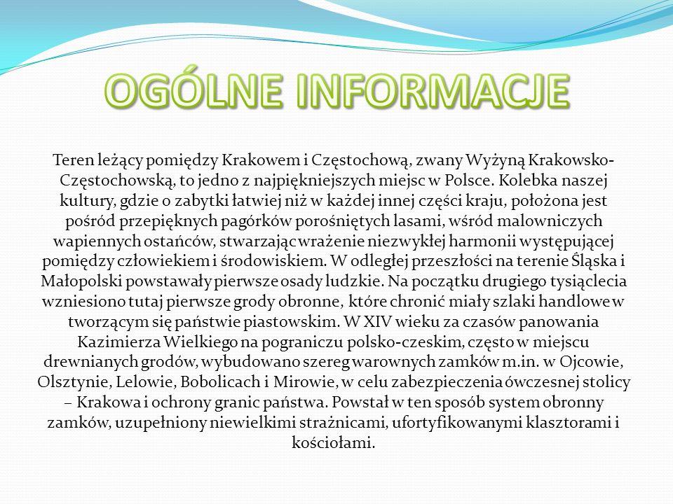 Teren leżący pomiędzy Krakowem i Częstochową, zwany Wyżyną Krakowsko- Częstochowską, to jedno z najpiękniejszych miejsc w Polsce.