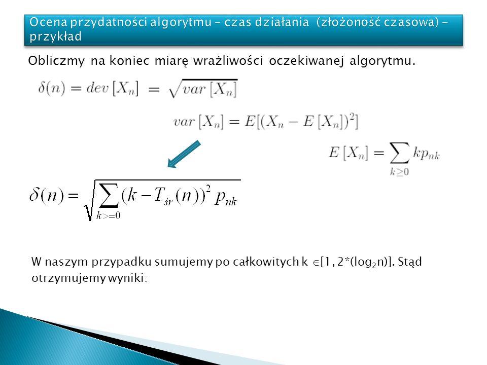 Obliczmy na koniec miarę wrażliwości oczekiwanej algorytmu. W naszym przypadku sumujemy po całkowitych k [1, 2*(log 2 n)]. Stąd otrzymujemy wyniki: