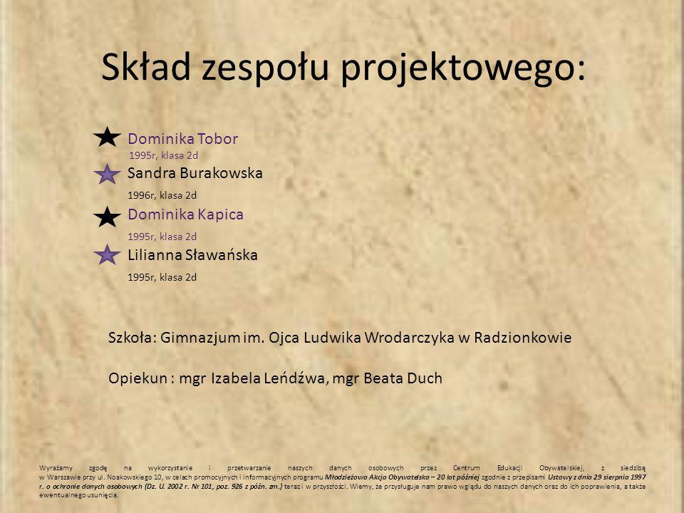 Skład zespołu projektowego: Dominika Tobor 1995r, klasa 2d Sandra Burakowska 1996r, klasa 2d Dominika Kapica 1995r, klasa 2d Lilianna Sławańska 1995r, klasa 2d Szkoła: Gimnazjum im.
