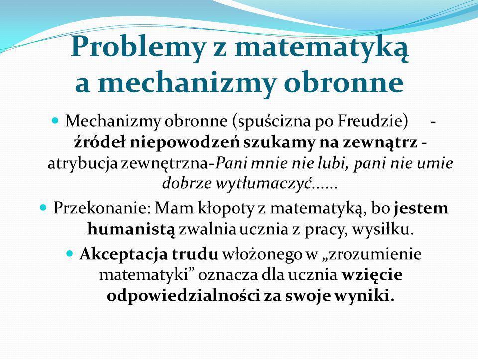 Problemy z matematyką a mechanizmy obronne Mechanizmy obronne (spuścizna po Freudzie) - źródeł niepowodzeń szukamy na zewnątrz - atrybucja zewnętrzna-
