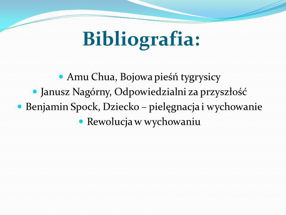Bibliografia: Amu Chua, Bojowa pieśń tygrysicy Janusz Nagórny, Odpowiedzialni za przyszłość Benjamin Spock, Dziecko – pielęgnacja i wychowanie Rewoluc