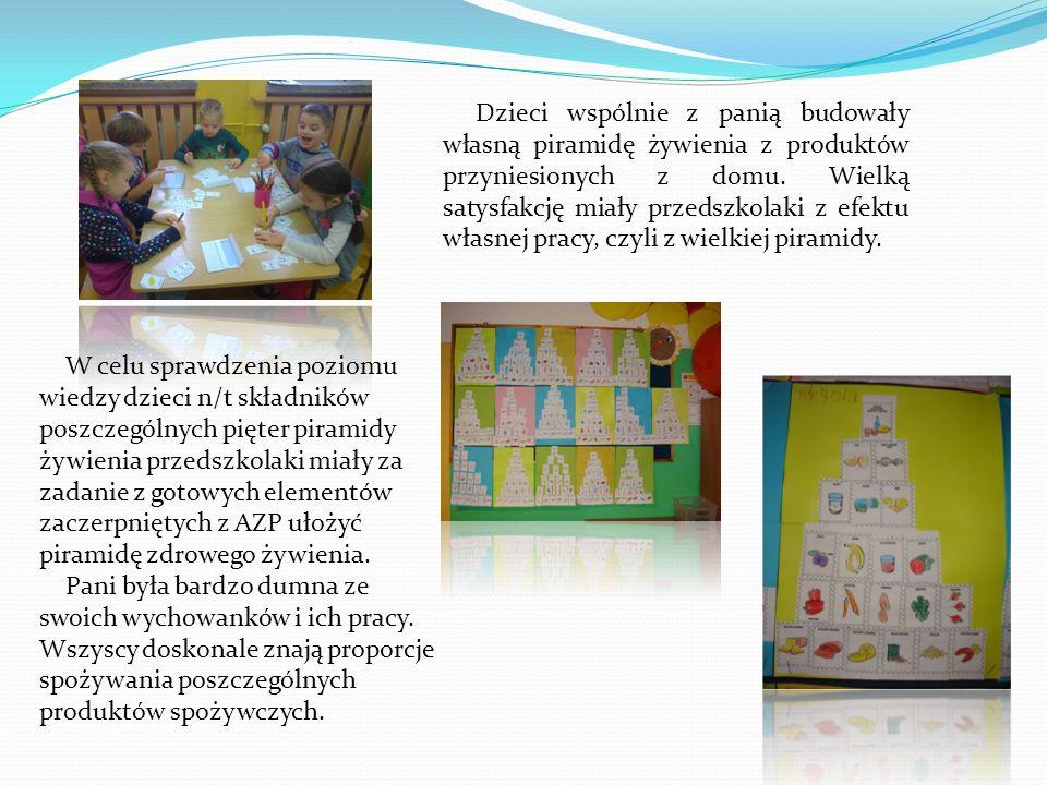 Dzieci wspólnie z panią budowały własną piramidę żywienia z produktów przyniesionych z domu. Wielką satysfakcję miały przedszkolaki z efektu własnej p