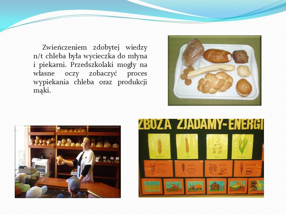 Zwieńczeniem zdobytej wiedzy n/t chleba była wycieczka do młyna i piekarni. Przedszkolaki mogły na własne oczy zobaczyć proces wypiekania chleba oraz