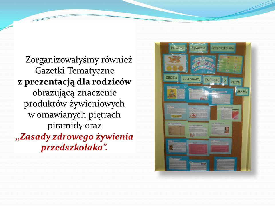 Zorganizowałyśmy również Gazetki Tematyczne z prezentacją dla rodziców obrazującą znaczenie produktów żywieniowych w omawianych piętrach piramidy oraz