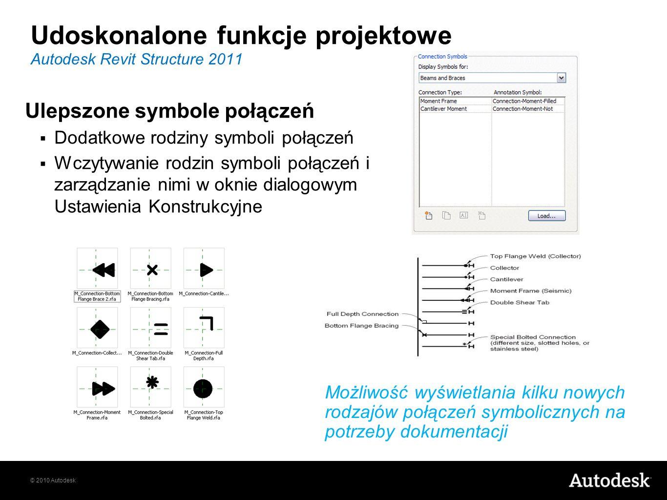 © 2010 Autodesk Udoskonalone funkcje projektowe Ulepszone symbole połączeń Dodatkowe rodziny symboli połączeń Wczytywanie rodzin symboli połączeń i za