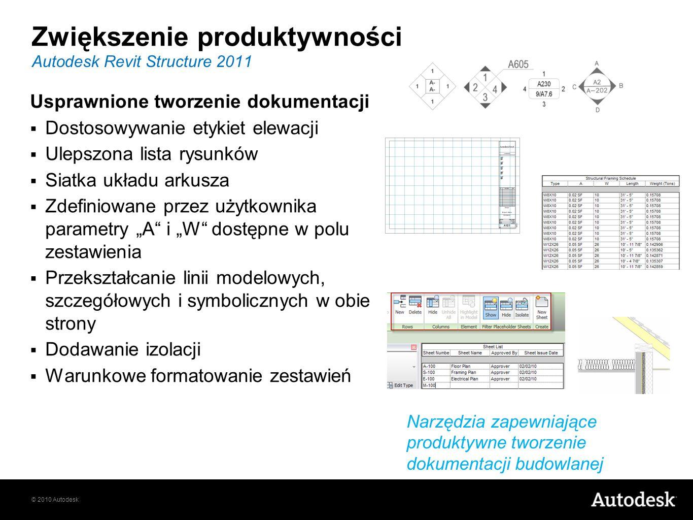 © 2010 Autodesk Autodesk Revit Structure 2011 Usprawnione tworzenie dokumentacji Dostosowywanie etykiet elewacji Ulepszona lista rysunków Siatka układ