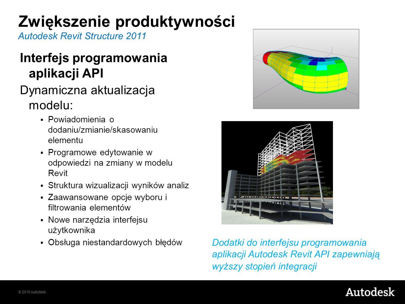 © 2010 Autodesk Interfejs programowania aplikacji API Dynamiczna aktualizacja modelu: Powiadomienia o dodaniu/zmianie/skasowaniu elementu Programowe e